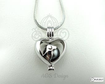 Pick A Pearl Cage Dog Heart Silhouette Profile Puppy Pet Silver Plated Locket Charm Necklace