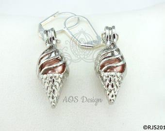 Pearl Cage Silver Ice Cream Cone Earrings Orange Sherbert Pearl Beads Gift Box