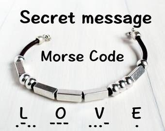 Men's Leather Morse Code Bracelet, Secret message, Valentine's gift for boyfrien, Men's Jewelry, Leather Bracelet, gift for him, homme