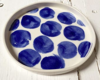 One of a kind handpainted porcelain dish