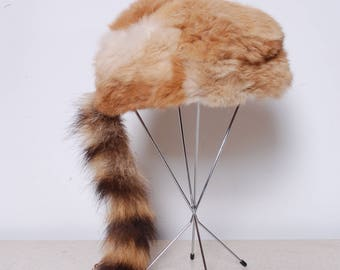 70s raccoon tail novelty trapper hat unisex mens womens vintage rabbit fur winter cosplay costume cap