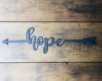"Hope - 18"" Rusty Metal Boho Arrow - For Art, Sign, Decor - Make your own DIY Gift!"