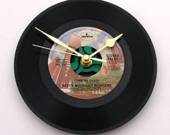 "Come On Eileen Vinyl Record CLOCK made from a recycled 7"" single, by Dexys Midnight Runners, classic 1980s, 80s, rock pop fans anniversary"