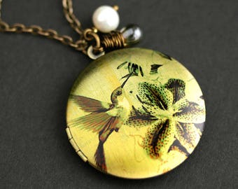 Hummingbird Locket Necklace. Hummingbird Necklace with Earthy Green Teardrop and Fresh Water Pearl. Bird Necklace. Bronze Locket.