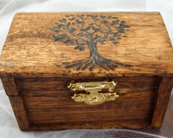 Ring Bearer Box, Hand Burned OLIVE Tree of Life Box, Wedding box, Monogram Date Wooden Box Rustic Wedding Couple Ring Box