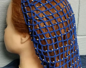 "40's Square Net Beaded Hair Snood - Beaded on Every row -8"" Regular Length"