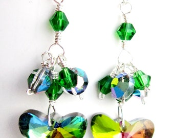Green Fantasy Crystal Butterfly Earrings-OOAK-Sterling Silver-Vintage Aurora Borealis Green Crystal, Upcyled Vintage, Cluster Earrings