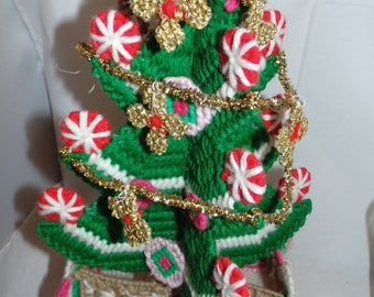 Vintage Plastic Canvas Christmas tree Candy holder Needle Point Kitsch Kitschy