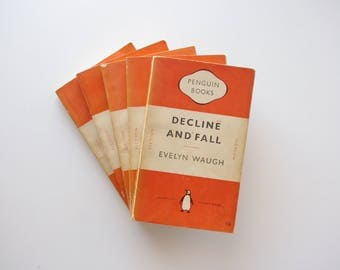Vintage Penguin Books Evelyn Waugh Collection - Orange Penguin Books 1951 - 5 Volumes - Instant Evelyn Waugh Library