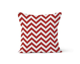 Red Chevron Pillow Cover - Zig Zag Lipstick - Lumbar 12 14 16 18 20 22 24 26 Euro - Hidden Zipper Closure