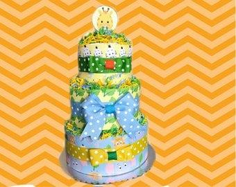 Blue, Yellow, Green Jungle Safari Baby Shower Diaper Cake