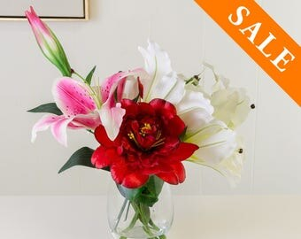 White Pink Red Silk Arrangement - Lily Artificial Flowers - Faux Arrangement - Centerpiece - Home Decor