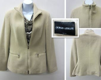 Girogio Armani Jacket Rabbit Angora Wool Blend Silk Size 40 Euro/10 US/12 UK Beige Cream Classic Made in Italy Vintage Free Shipping (542)