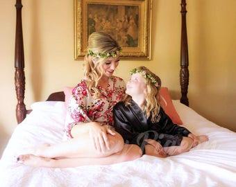 KIDS SATIN ROBES - Flower Girl Robe - Junior Bridesmaid Gift - Juniors Robe - Childs Robe - Kids Robe - Little Girls Robe - Wedding Robes