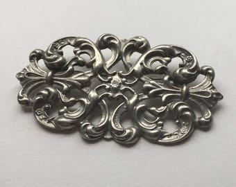 Art Nouveau Large Silver Brooch / Pin