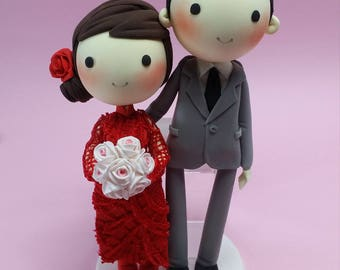 Beautiful red lace ao dai Vietnam traditional wedding costume cake topper,groom in suit clay miniature, engagement clay figure decoration