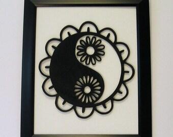 Yin Yang,  Framed art, scroll saw, wood yin yang
