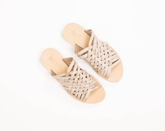 woven Slides In Cream, Criss Cross cream Slides