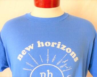 vintage 80's NH New Horizons blue graphic t-shirt white sun seagull ocean logo print crew neck super soft thin hanes 50 50 made in usa XL