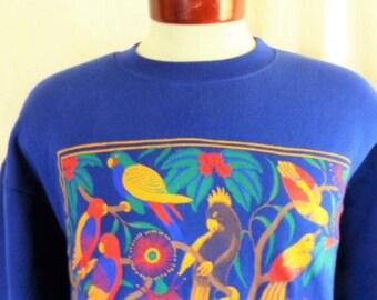 vintage 80s 1989 Native Birds of Australia Aussie Themes royal blue fleece graphic sweatshirt tropical bird flower bright color print small