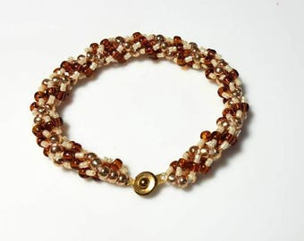 multicolor cream copper bronze seed beads bracelet earthy twisted spiral rope woven jewelry everyday beadwork beaded jewelry gifts for her