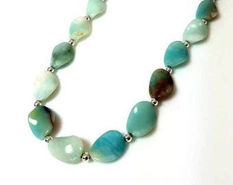 Twisted Amazonite Gemstone Bead Necklace Light Mint Green Cream Brown Stone Necklace 18-Inch Silver Necklace Beaded Jewelry