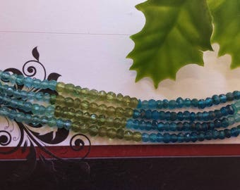 Natural Multi Apatite Beads, Faceted Rondelles, Small Necklace Beads, 13 Inch Strand, 3 mm, Gemstone Beads, Jewelry Supplies
