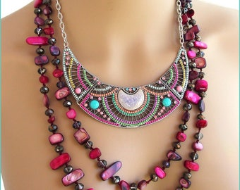 Multicolor bib necklace / long pink/Fuchsia - stone, mother of Pearl, ceramic