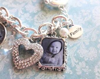 Grandmother Gift, Grandma Gift, Mother's Day, Gift Mom, Children, Grandchildren, Family, Family Tree, Crystal Heart, Love Bracelet, Silver