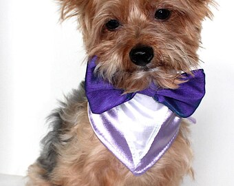 Bow Tie Dog Bandana, S M L Purple Shiny Satin tie-on bandanas for dogs, Elegant Runway Look, Fashion Dog Clothes