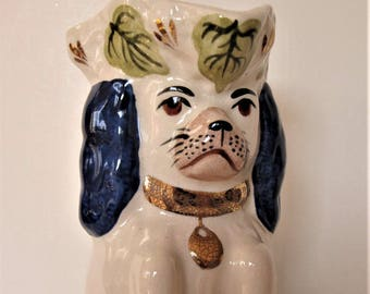 "Vintage Royale Stratford handpainted Toby dog jug, Staffordshire begging dog pitcher, Made in England, 9 1/2"" tall, artist initialed, gift"