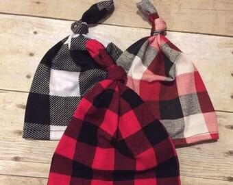 Newborn Top Knot Beanie Buffalo Plaid Red White Black Hospital hat Baby Lumberjack