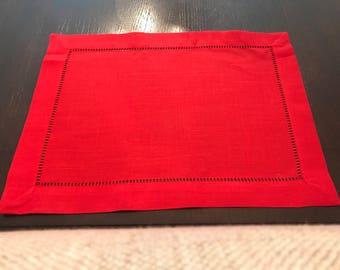 Red 4th of July Placemats | RED Table | Shabby Chic Hemstitch | Red Placemats