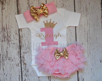 Personalized  pink and gold First Birthday outfit- pink and gold 1st birthday outfit- 1st birthday- Pink gold Birthday -pink and gold party