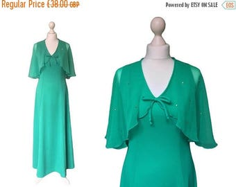 On Sale 1970's Dress - 70's Maxi Dress - Long Green Dress With Chiffon Capelet - Abigail's Party Hostess Dress