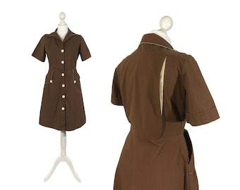 Retro 1970's Dress | Brown Vintage Dress | Bowling Dress | Button Down | Shirtwaist | Shirt Dress | Medium