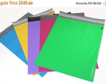 On Sale 50 Pack 12x15 Multi Color Self Seal Poly Mailers bags, Raspberry Pink, Blue Purple Yellow Green Flat Plastic Mailing Shipping Bags,