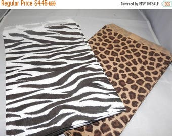 On Sale 50 Pack,  25 Each of 6x9 Zebra and Leopard  Print Retail Merchandise Bags, Paper Bags, Gift Bags , Party Favor Animal Print Bags