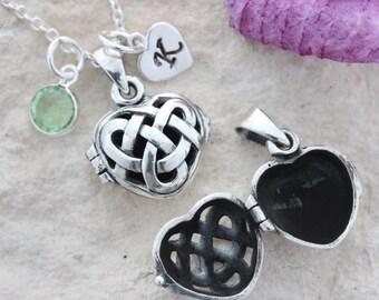 Celtic heart locket necklace. Sterling silver Celtic Love knot locket. Personalized Locket Necklace, Celtic Locket Jewelry, Mony-Art -56