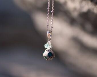 Lampwork glass bead aquamarine apatite Necklace
