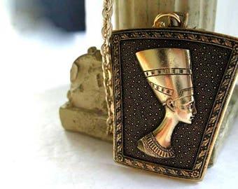 Egyptian Pendant Nefertiti, Eloxal Germany Two Tone Textured Brushed Gold Aluminum, Raised Bust Profile, Signed