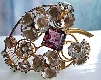 Fred Block Sterling Brooch, Purple Glass and Clear Crystal Stones, Coiled Wire Springs, Large Abstract Leaf, Gold Vermiel Finish