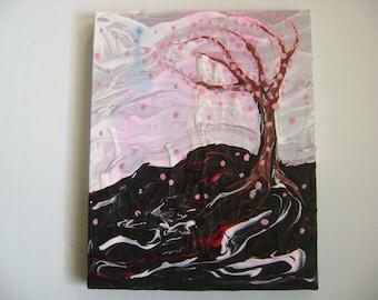 Pinky Serenity - Original Acrylic Painting Canvas - 10 x 8