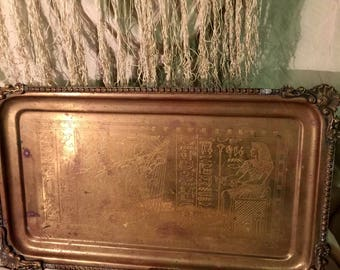 Antique Egyptian Serving Tray Vanity Tray with Etched Old World Egyptian Figures and Hieroglyphics