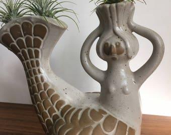 Bearded mermaid or merman by David Stewart pottery