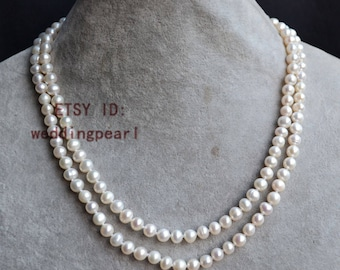 15 of the ivory pearl necklaces , 17-18 inches 2 row 6-6.5mm freshwater pearl necklace,weding necklace, statement necklace, bridesmaids