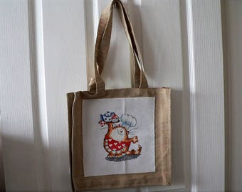 Cross Stitch Cooking Cat Canvas Bag
