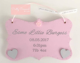 New Baby Personalised Plaque
