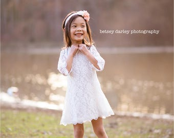 White Wedding Flower Girl Headband