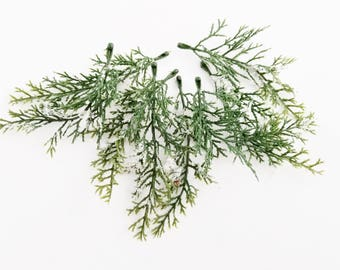 Snowy Cedar Picks | Winter Evergreen | Artificial Greenery | Wreath Supplies | Millinery Greenery | Christmas Decoration | The Blue Hutch